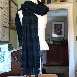 Black watch plaid wool scarf